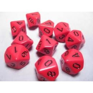 Chessex Opaque Ten d10 Set - Red/black