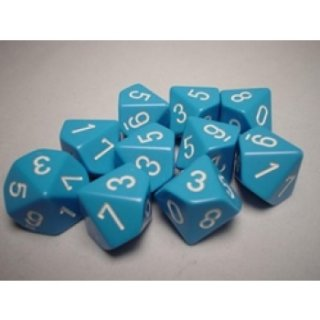 Chessex Opaque Ten d10 Set - Lt. Blue/white