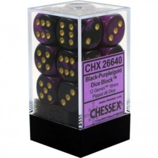Chessex Gemini 16mm d6 with pips Dice Blocks (12 Dice) - Black-Purple w/gold