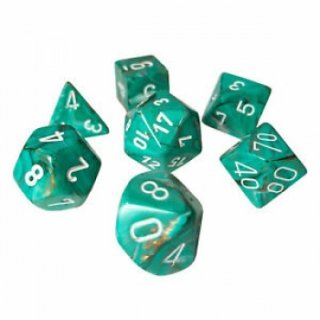 Chessex Marble 7-Die Set - Oxi-Copper w/white