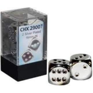 Chessex Specialty Dice Sets - Silver-Plated Metallic 16mm d6 with pips Pair (2)